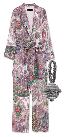 Wedding Guest dresses What to wear spring summer guide Mae cassidy  luxury accessories simi sparkle silver bracelet bag zara paisley trouser suit clutch bag handmade unqiue