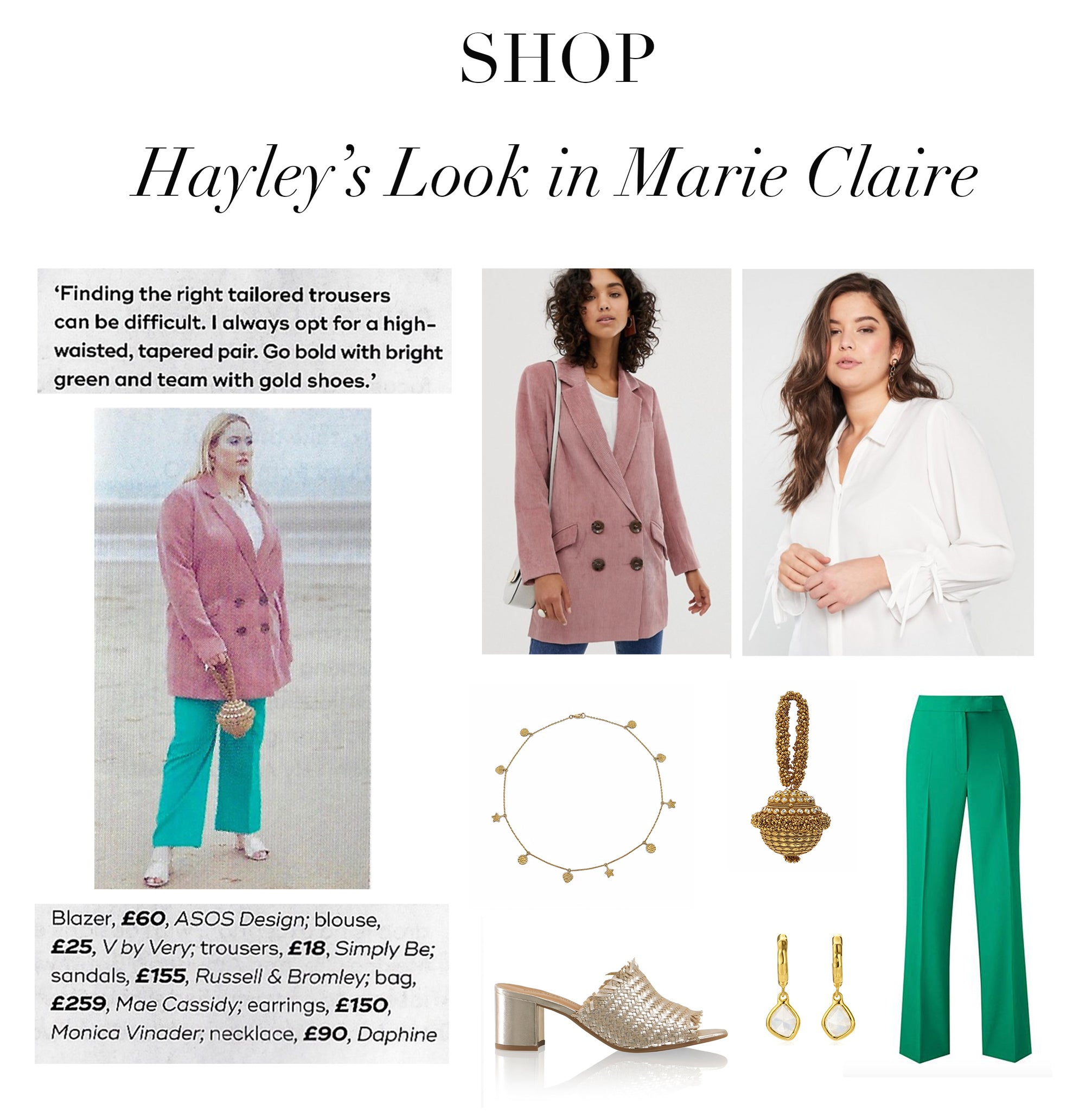 Mae Cassidy feature Marie Claire's June Issue 2019. Resident columnist Hayley Hasselhoff styles our Antique Gold Simi Sparkle clutch bag Curve Column, 'Sorbet Chic' blush pink mint green pastel trends high street  Antique Gold Simi Sparkle oversized tailored Cord pink ASOS blazer white V by Very shirt colour green trousers accessorised gold hues Russel Bromley gold leather heeled sandal's Monica Viander Necklace Daphine earrings gold silver Simi Sparkle clutch bag handbag occasionawear perfect addition to any outfit for effortless