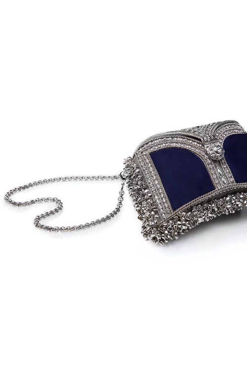 Mae Cassidy Wolf and Badger  Embellished clutch Handbag handmade luxury accessories unique silk beaded zeenat clutch navy blue silver cross body