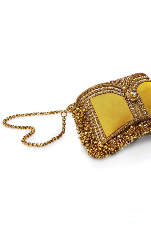 Mae Cassidy Wolf and Badger  Embellished clutch Handbag handmade luxury accessories unique silk beaded zeenat clutch butterscotch yellow antique gold mustard cross body