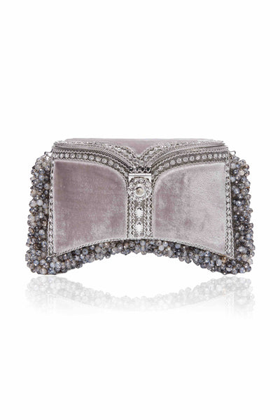 SHOP Mae Cassidy - Only 1 of 100 pieces made as part of our AW20, Limited Edition 'In The Stars' Collection. The Zeenat Gemstone Clutch Bag; handmade from silver-tone metalwork, scores of shimmering crystals and over 1200 semi-precious,  Grounding Moonstone Grey Agate gemstones, each individually threaded onto intricate silver-tone metal pins. Contrasted by moonstone grey, plush velvet panels.