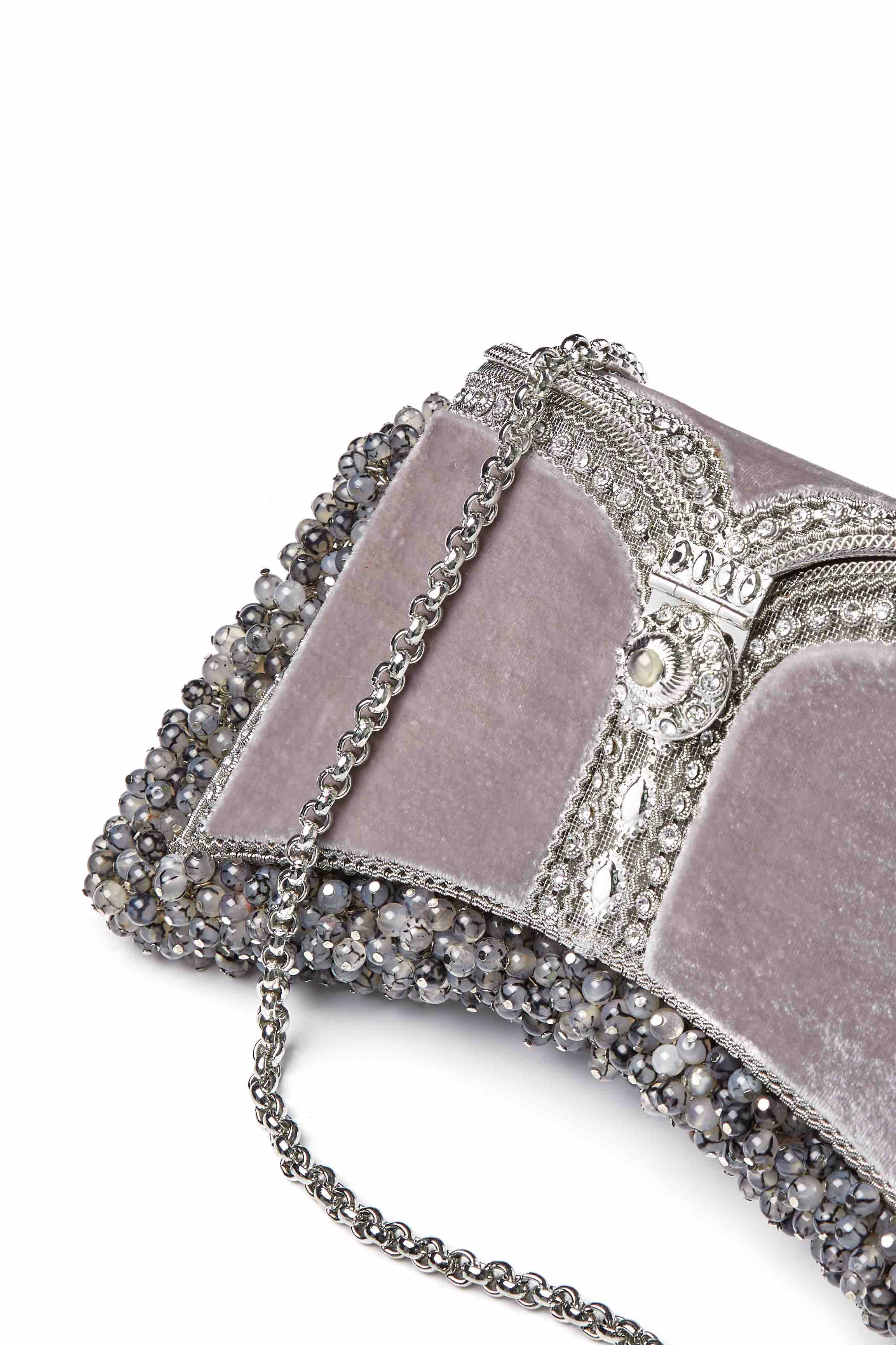 Zeenat Gemstone Clutch | Grounding Moonstone Grey Agate | Limited Edition