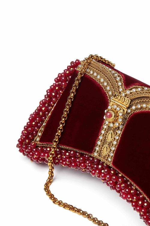 Zeenat Gemstone Clutch | Strengthening Red Onyx | Limited Edition