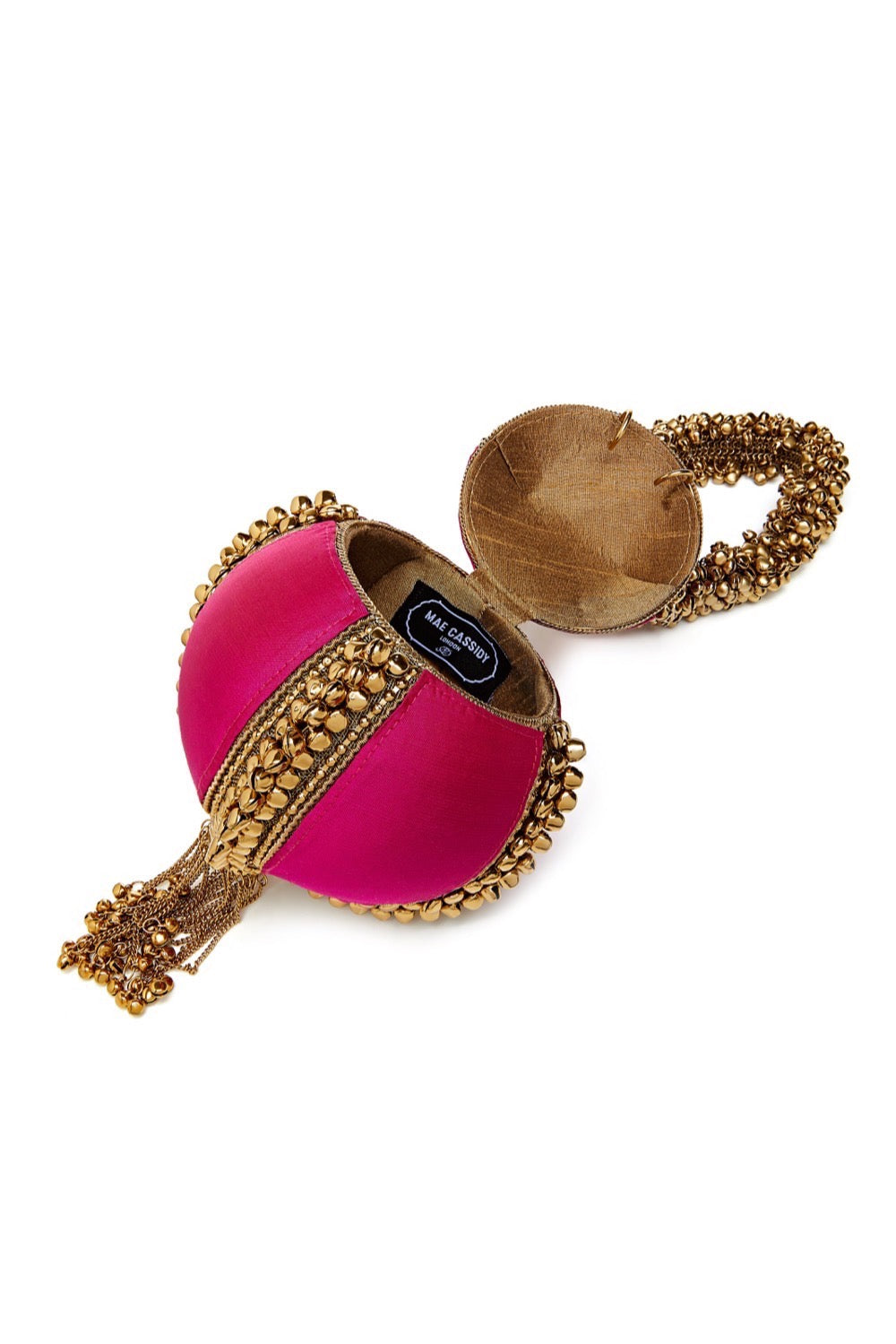 Mae Cassidy Babi Bracelet Power Pink Antique Gold Clutch Bag.