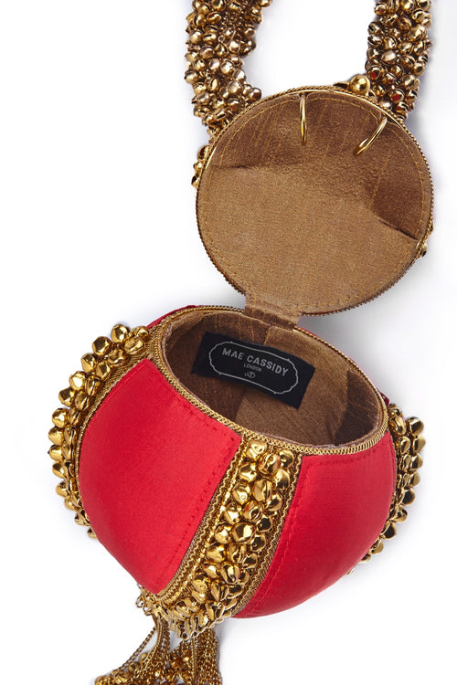 Mae Cassidy Fiery Red Babi Bracelet Bracelet Bag Clutch Silk Antique Gold Wolf & Badger Luxury Accessories Handmade Craftsmanship Embellished