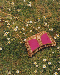 Mae Cassidy Zeenat Power Pink Antique Gold Clutch Bag. Modelled by Emma Laird. Photography by Annie Lai.