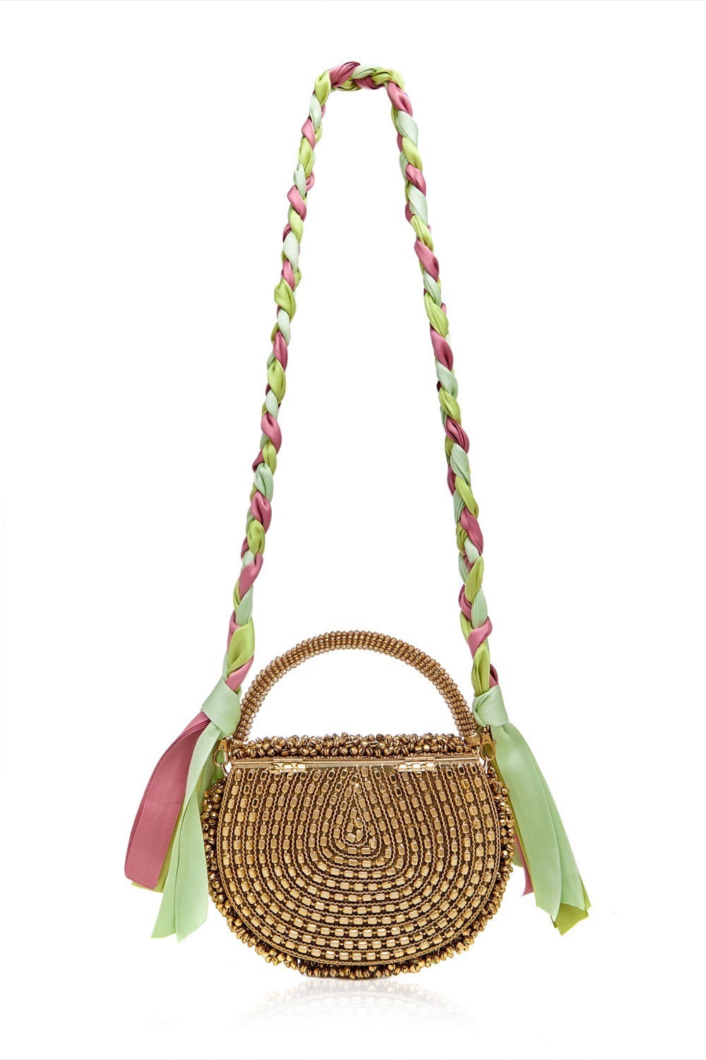 Mae Cassidy Malini Dream Gold Pastel Ribbon Plaited Handbag.