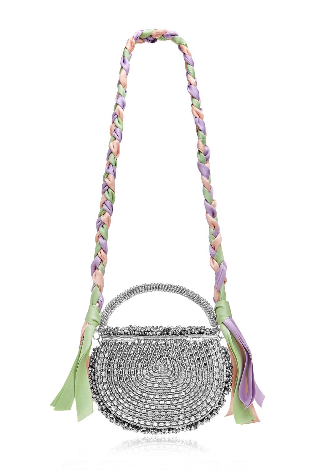 Mae Cassidy Malini Dream Silver Pastel Ribbon Plaited Handbag.