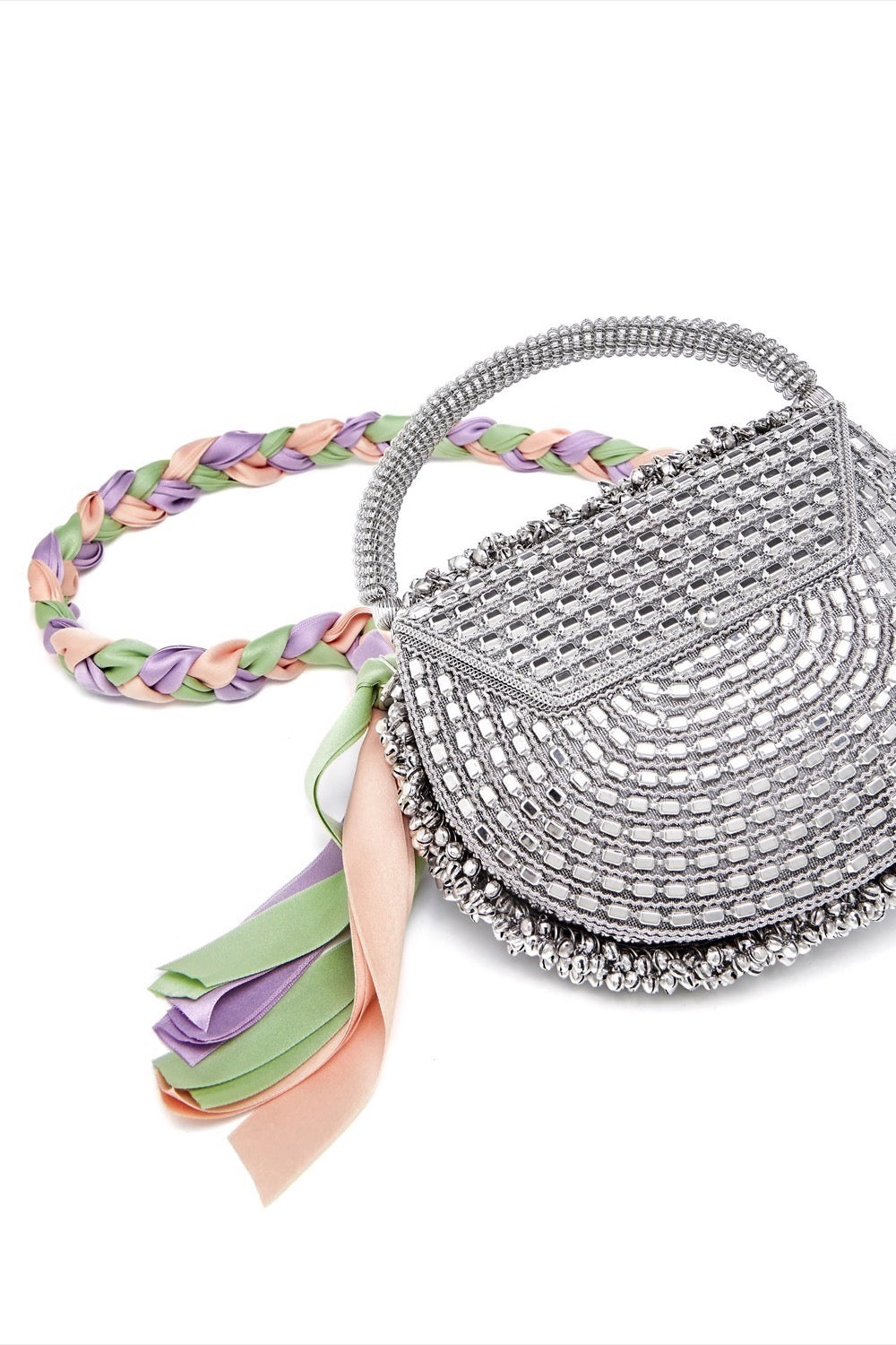 Mae Cassidy Malini Dream Silver Pastel Ribbon Plaited Handbag. Modelled by Emma Laird, Photography By Annie Lai.