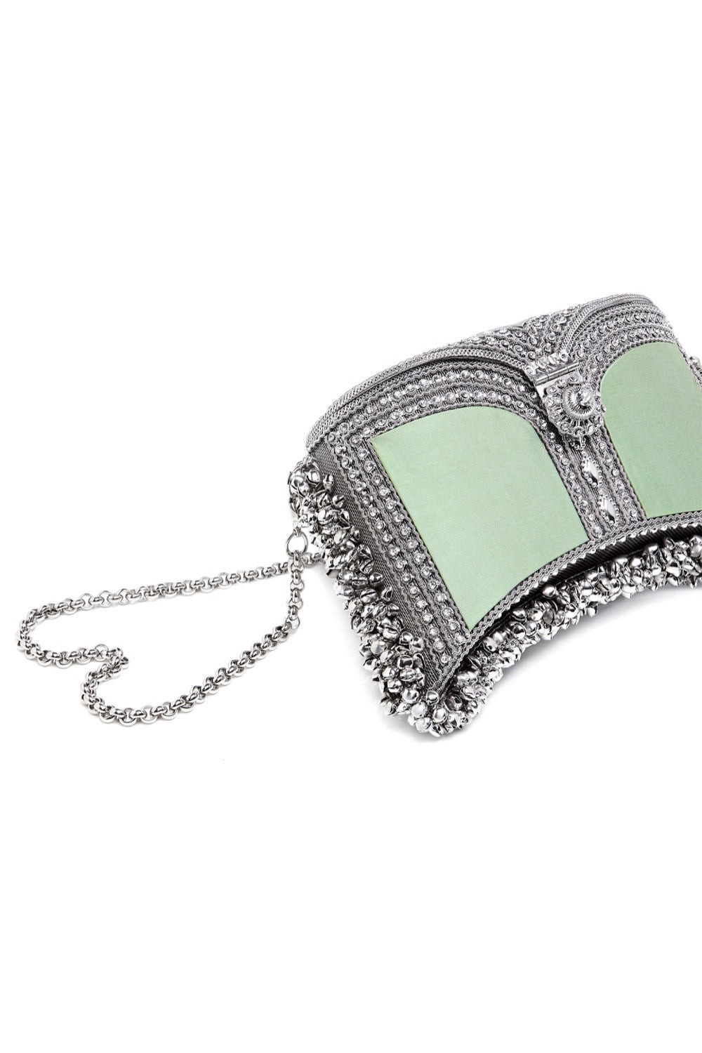 Mae Cassidy Zeenat Botanical Mint Silver Clutch Bag. Modelled by Emma Laird. Photography by Annie Lai.