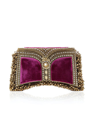 Zeenat Pearl Clutch | Golden Olive