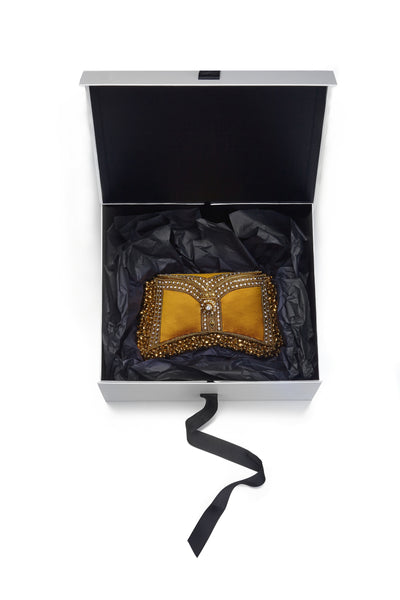 Zeenat Clutch Butterscotch Mae Cassidy Clutch Bag Handmade Unique Embellished Luxury Accessories