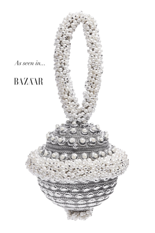 Mae Cassidy Simi Pearl AW19 Silver Bracelet Clutch Party Bag, Also Available Net-A-Porter, Seen in Harpers Bazaar