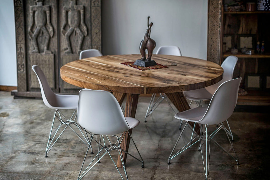 Houston Inventory Live Edge Solid Wood Round table and wood legs