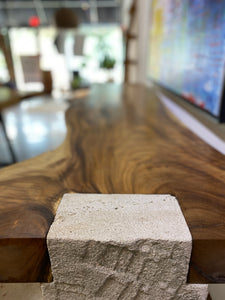 Solid wood live edge bar or console,  beautiful single slab wood pieces on limestone base