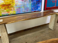 Load image into Gallery viewer, Solid wood live edge bar or console,  beautiful single slab wood pieces on limestone base