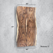 "Load image into Gallery viewer, Large Live Edge Table, 79"" double Wood Slab, Metal or Wood Base"