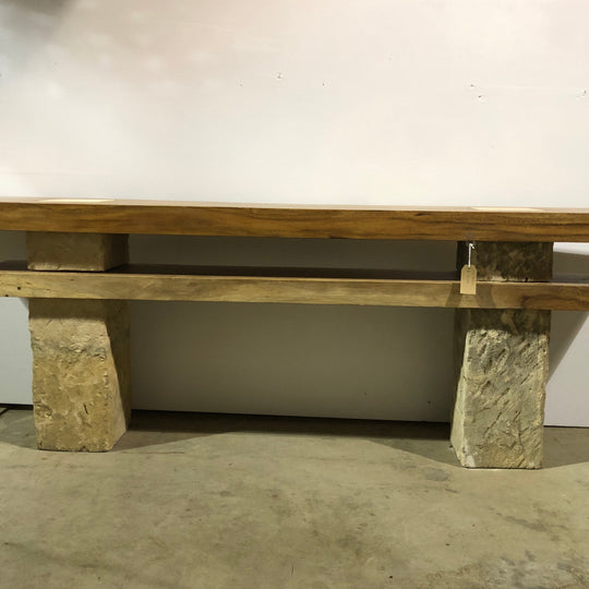 Live Edge Media Console, Single Wood Slabs on Limestone Base