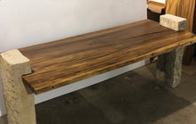 "Load image into Gallery viewer, 78""  Relaxing Live Edge Dining table, Office Table, Wood Slab Table w/ Stone Base"