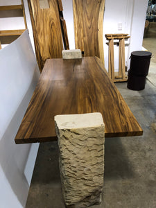 "78""  Relaxing Live Edge Dining table, Office Table, Wood Slab Table w/ Stone Base"