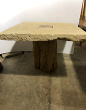 Load image into Gallery viewer, Square Limestone Table with Tree Trunk Base