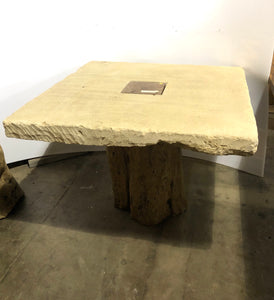 Square Limestone Table with Tree Trunk Base