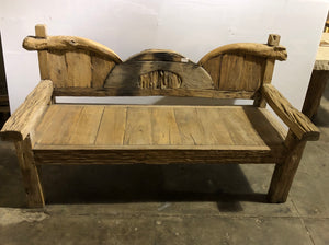 Modern Natural Signature Teak Root Wood Bench | Unique Natural Piece
