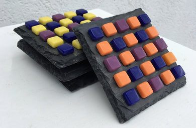 ARKA Living Colorful glass Coaster set(4) by lula Azorey, handmade colorful mosaic glass coaster 2