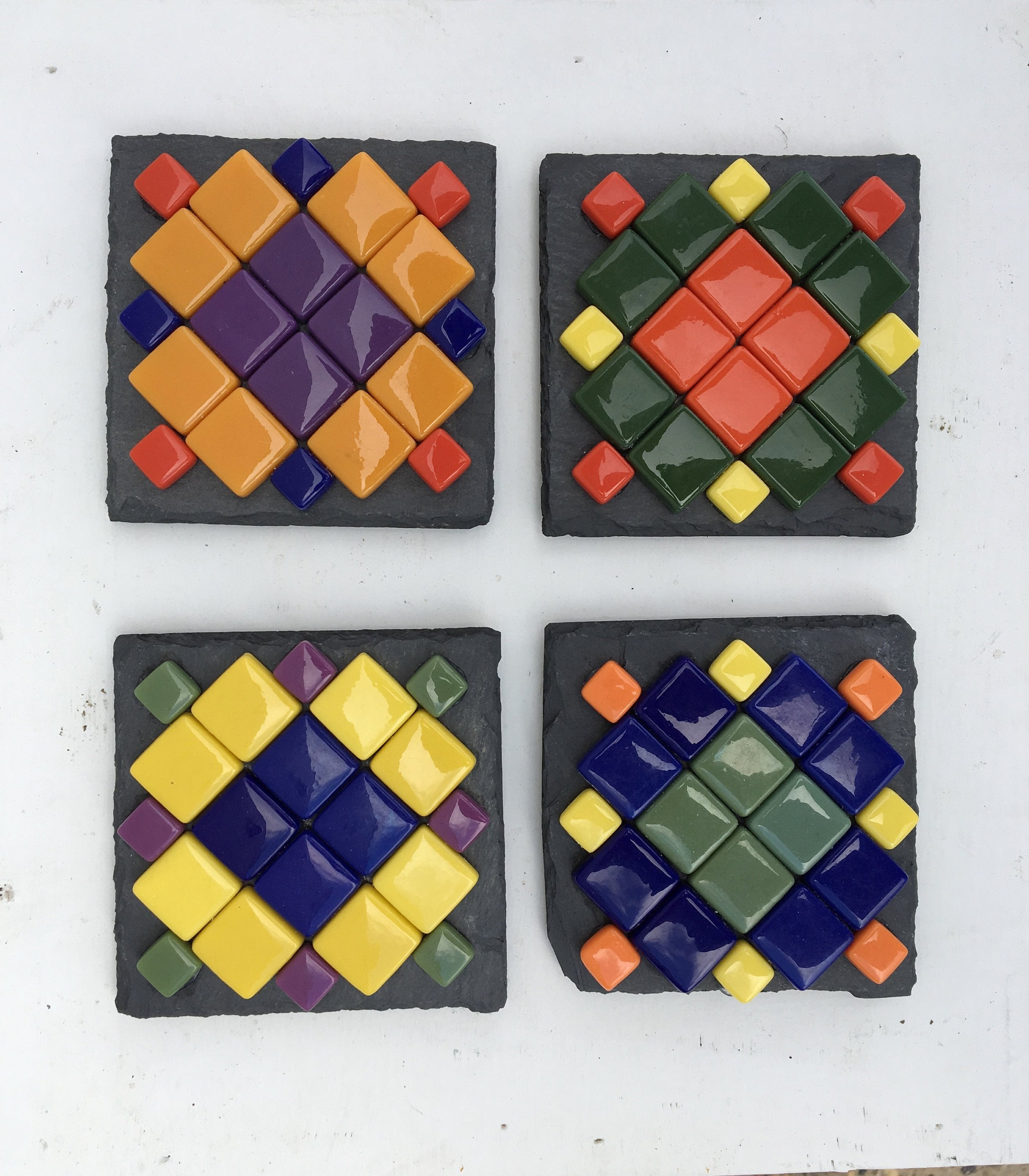 ARKA Living Colorful glass Coaster set(4) by lula Azorey, handmade colorful mosaic glass coaster