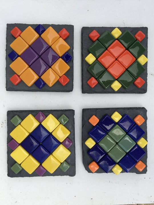 Colorful glass Coaster set(4) by lula Azorey, handmade colorful mosaic glass coaster