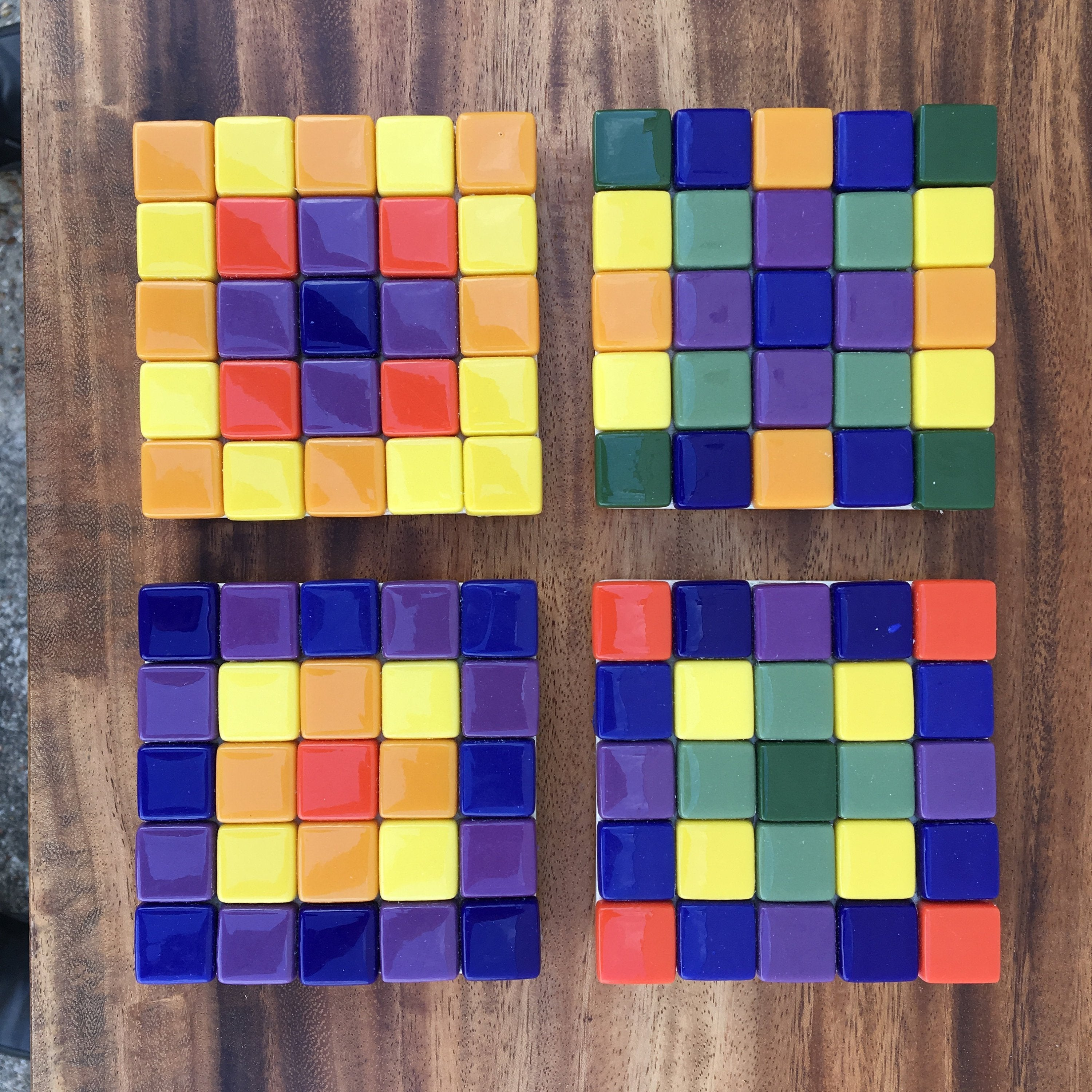 ARKA Living Colorful glass Coaster set(4) by lula Azorey, handmade colorful mosaic glass coaster 4