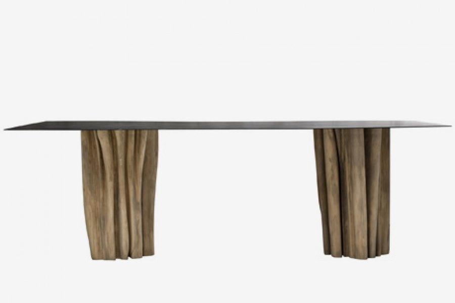 ARKA Living DINING Iron Top w/ natural trunk base RECTANGULAR dining table
