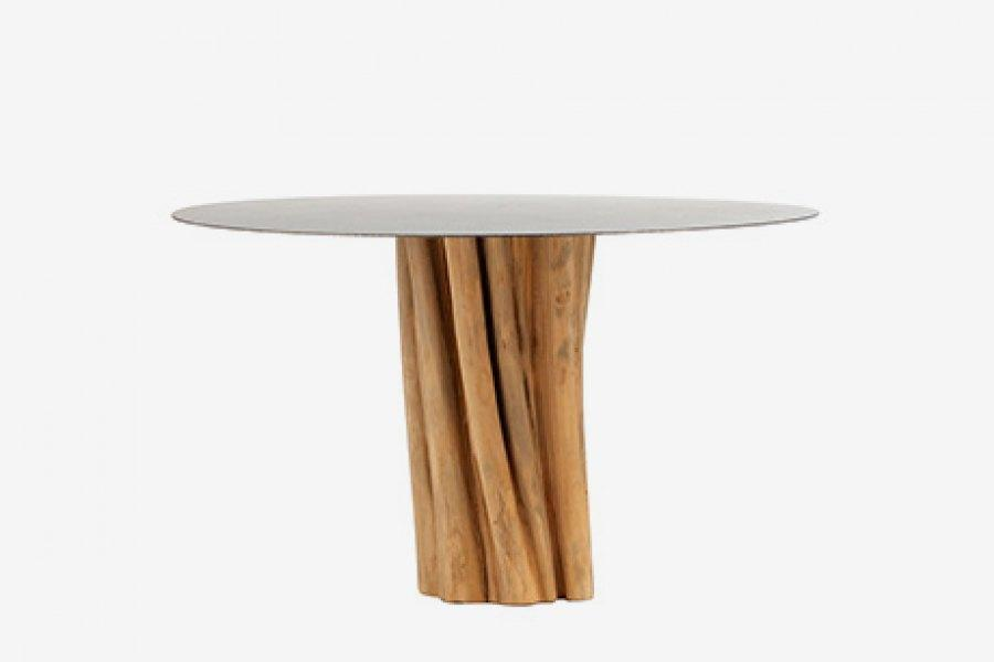 ARKA Living DINING Iron Top w/ natural trunk base round dining table