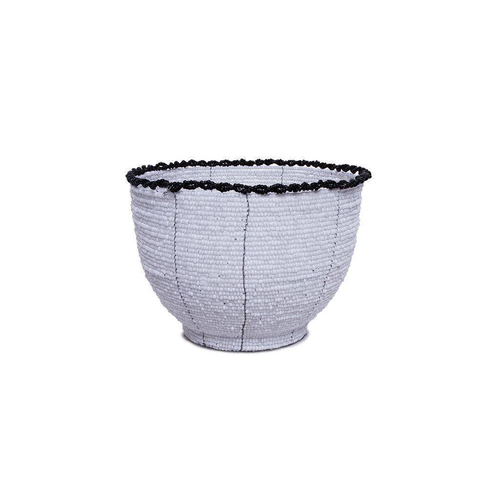 ARKA Living Handcrafted beaded bowl white- black trim