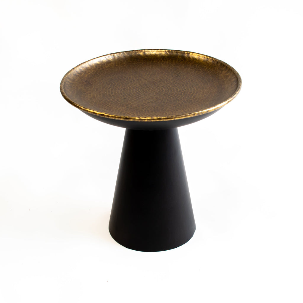 ARKA Living Handcrafted bronze round end table cone base