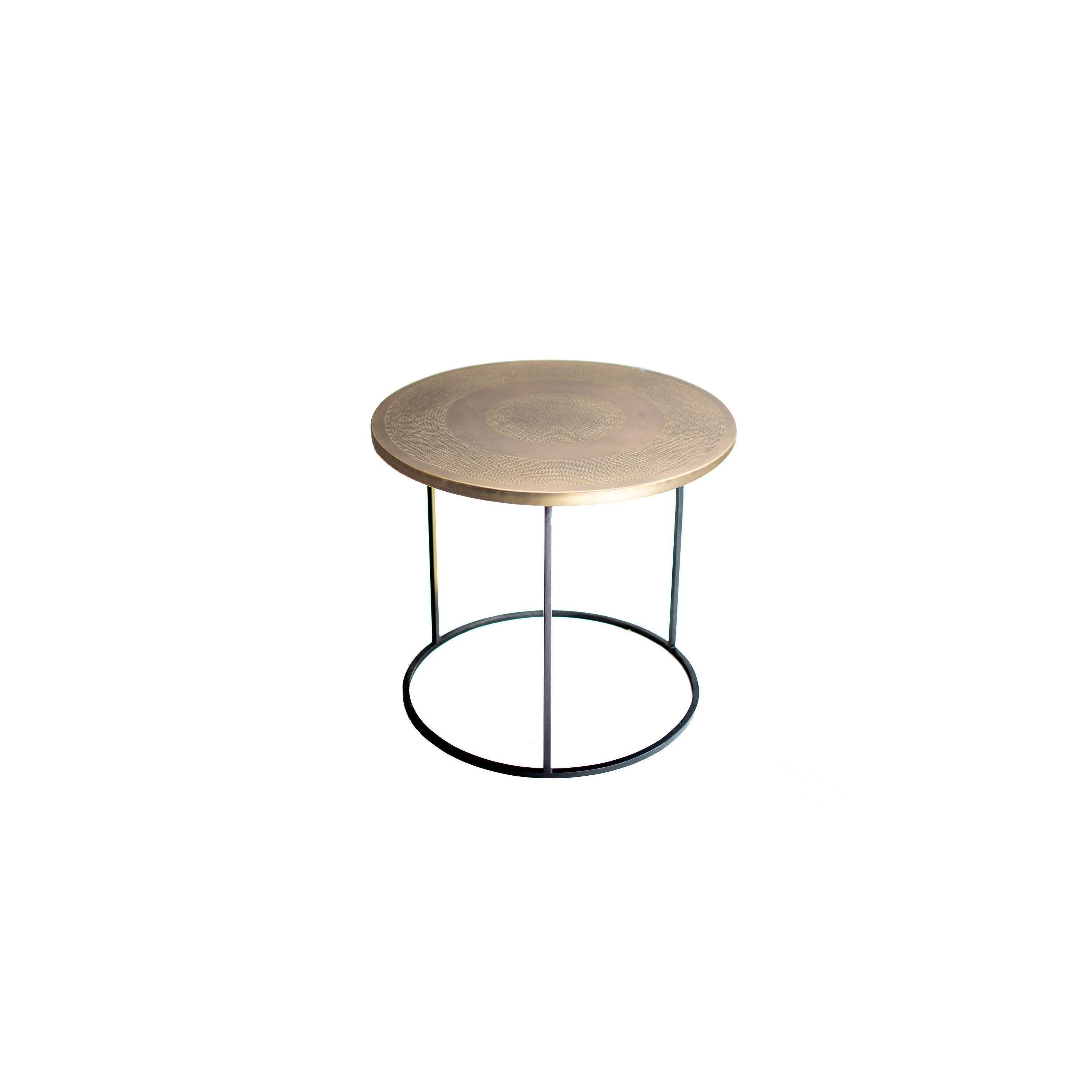 ARKA Living Handcrafted bronze round end table with black metal base