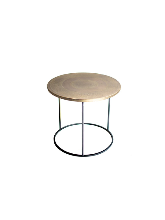 Hand Carved Bronze Moroccan Round End Table | Small Night Stand | Bronze and Metal