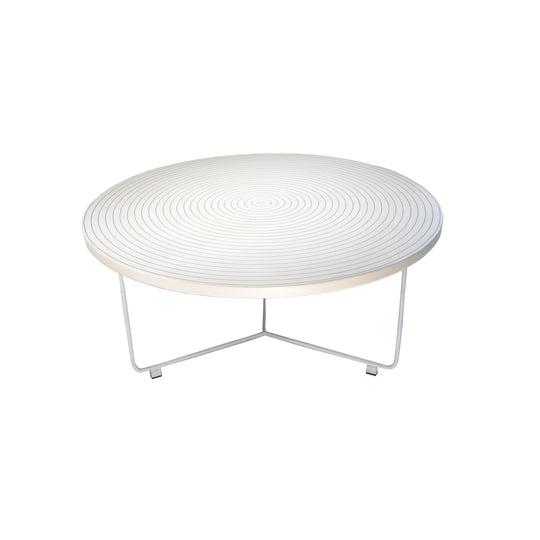 Handcrafted Resin Round Coffee Table | Modern White and Silver Coffee Table