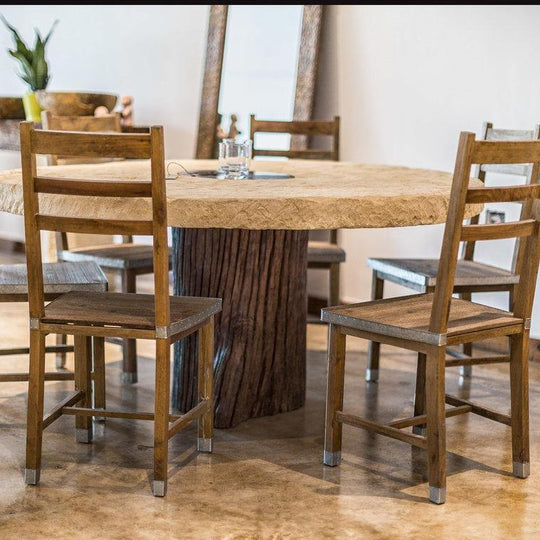 Limestone Dining Table, Tree Trunk Base