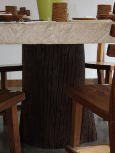 ARKA Living In and out limestone table on tree trunk