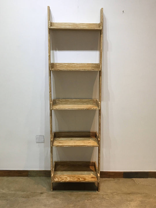 Modern primitive leaning shelf