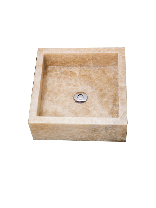 Natural Square Vessel Sink | Semi-Opaque Onyx Stone 2