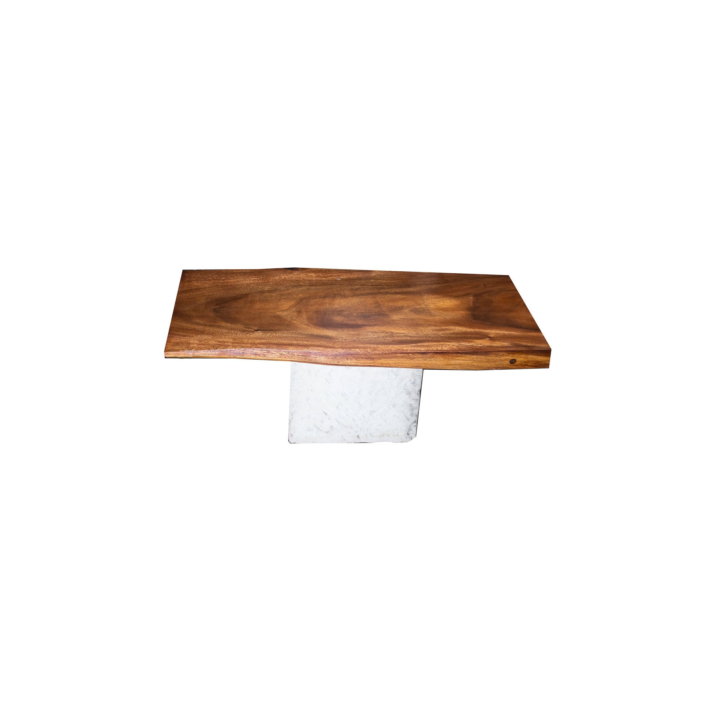 ARKA Living Rectangular  Live Edge coffee table beautiful wood slab table, with live edge wood top and limestone base