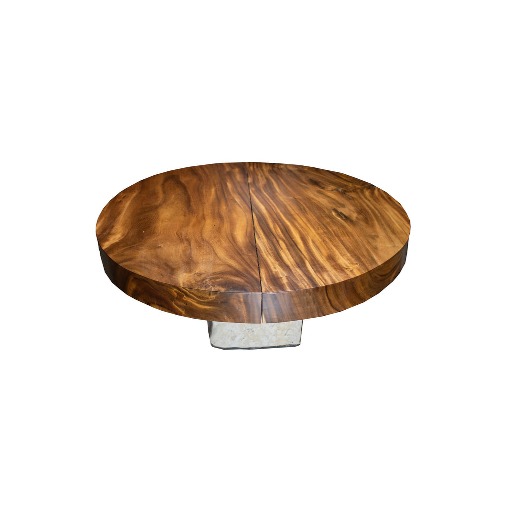 ARKA Living Round Live Edge coffee table beautiful wood slab table, with live edge wood top and limestone base
