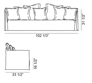 ARKA Living SOFA Ghost Sofa 14 on White Linen Coach, 2-week lead time