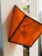 Load image into Gallery viewer, Stained Orange semi transparent glass 3D geometric cube wall or table top decoration Sculpture Tiffany technique - Large, Platonic Solid