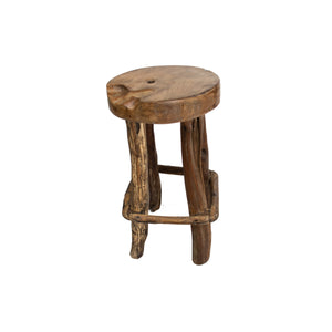 Solid reclaimed wood stool from teak root 4