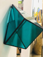 Load image into Gallery viewer, Stained green transparent glass 3D geometric cube wall or table top decoration Sculpture Tiffany technique - Large, Platonic Solid