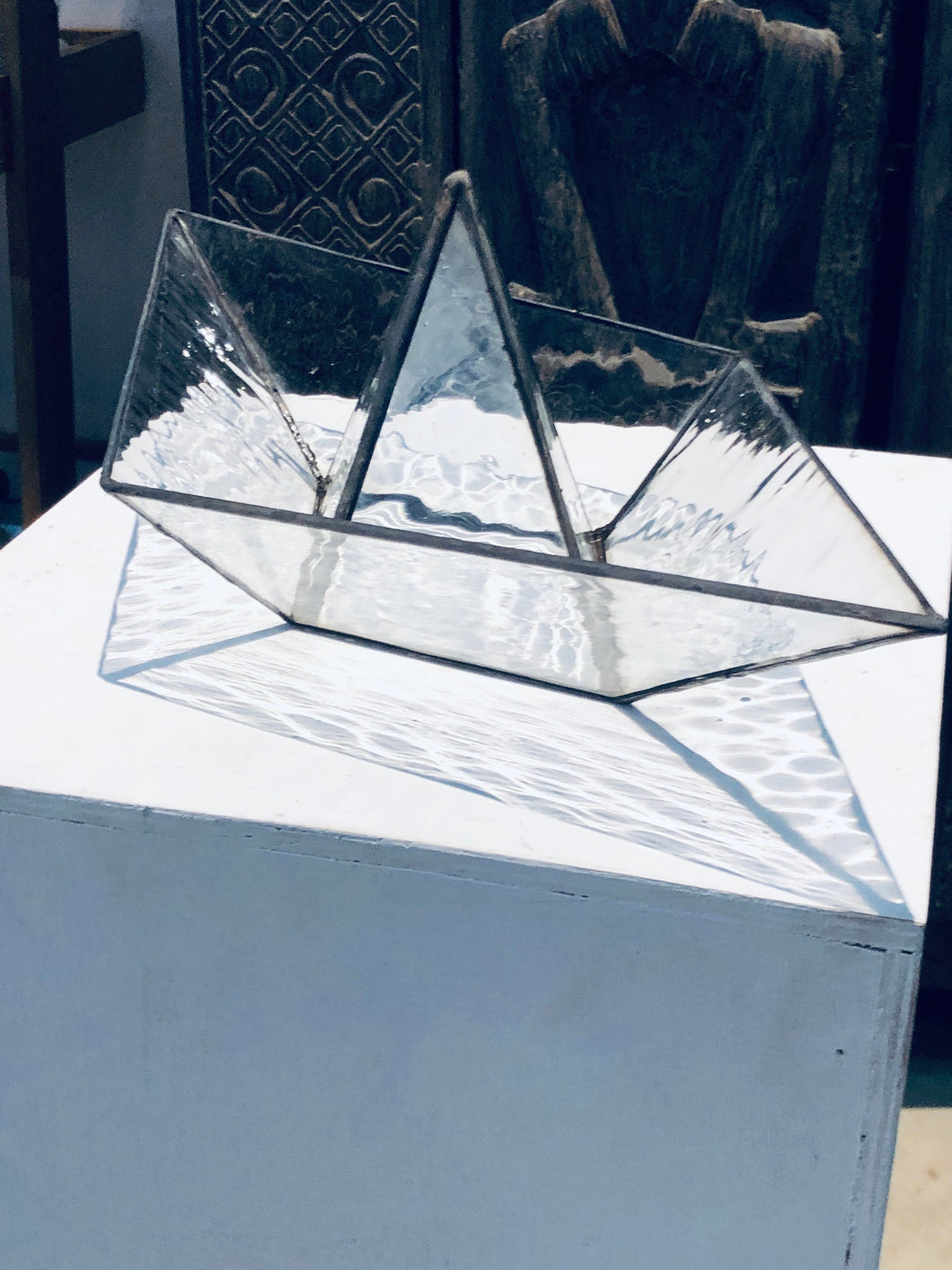 Stained clear glass 3D paper origami style sailing boat  Sculpture Tiffany