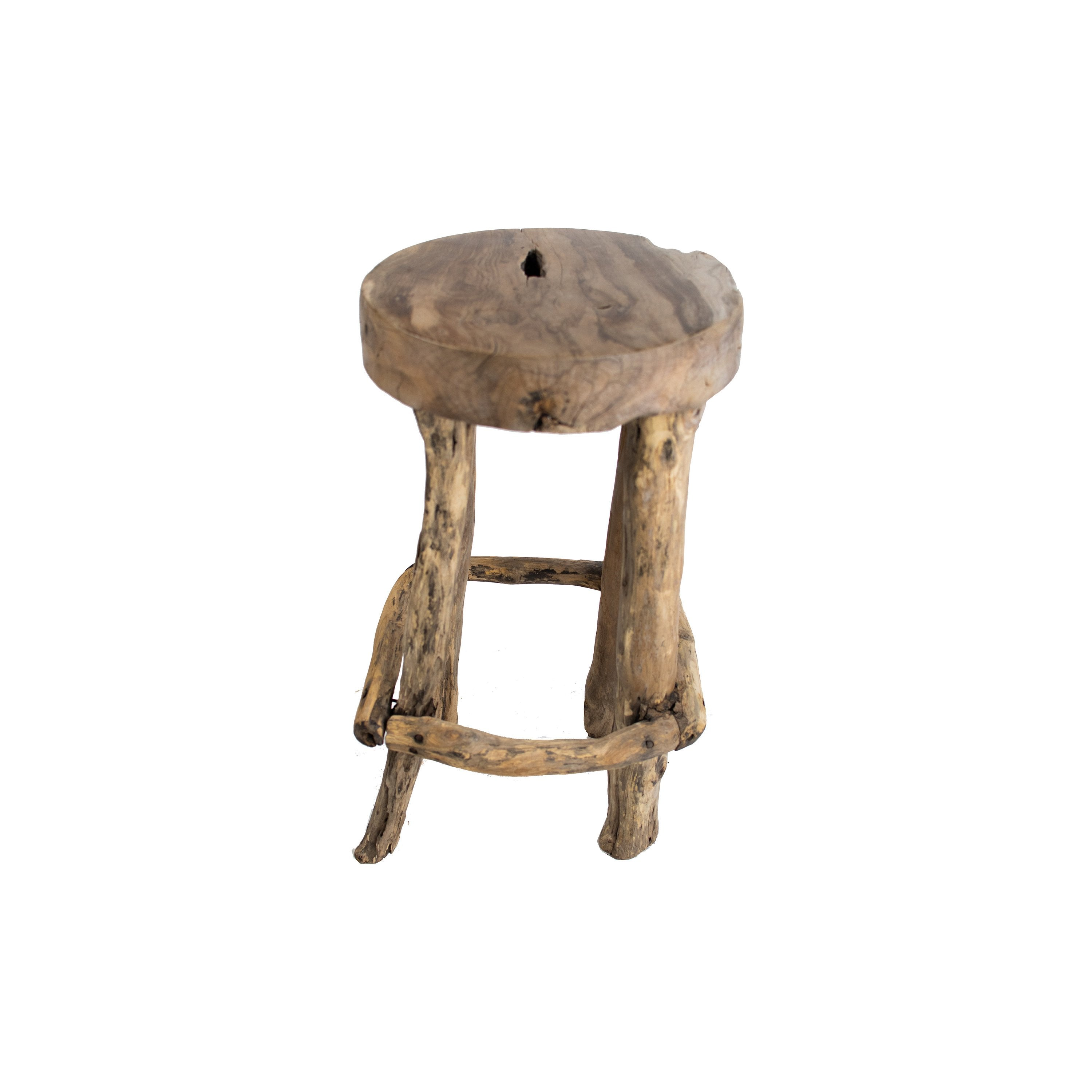 Solid reclaimed wood stool from teak root 5